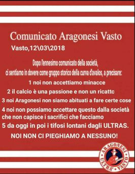 Comunicato Aragonesi Vasto