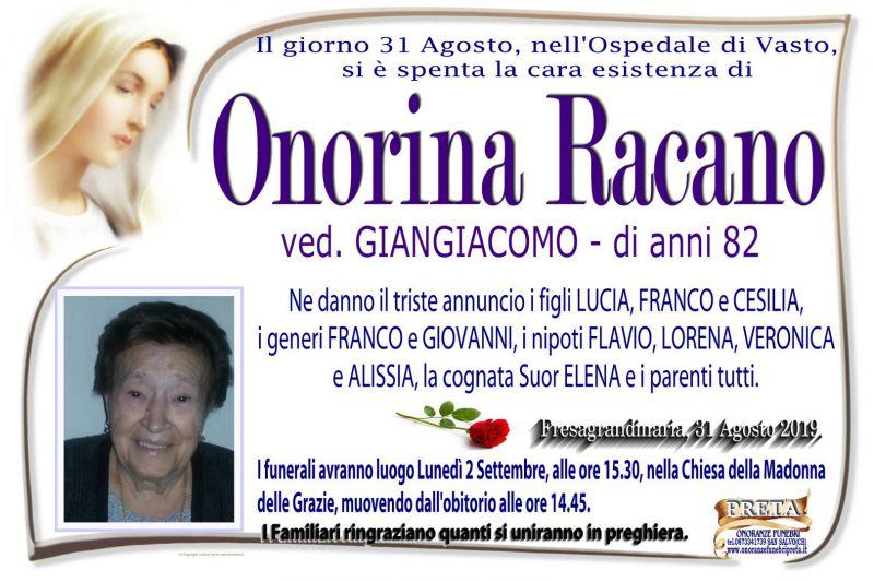 Onorina Racano 31/08/2019