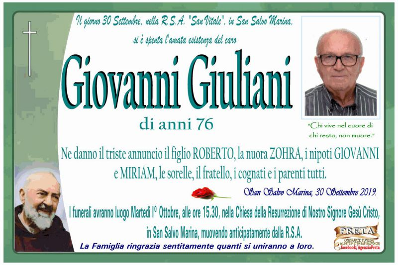 Giovanni Giuliani 30/09/2019